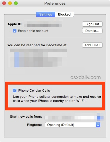 Disable iPhone cellular calls from ringing on the Mac