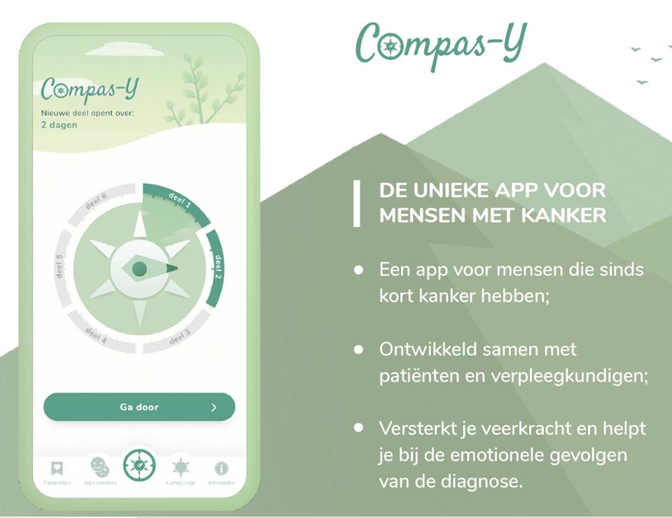 Links de homepage van de app Compas-Y. Rechts de tekst: Compas-Y, de unieke app voor mensen met kanker.  Een app voor mensen die sinds kort kanker hebben; ontwikkeld samen met patienten en verpleegkundigen; versterkt je veerkracht en helpt je bij de emotionele gevolgen van de diagnose.